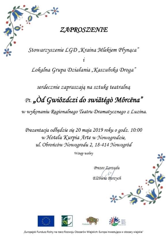 Ogromny Zaproszenie na sztukę teatralną - Urząd Gminy Mały Płock UN03